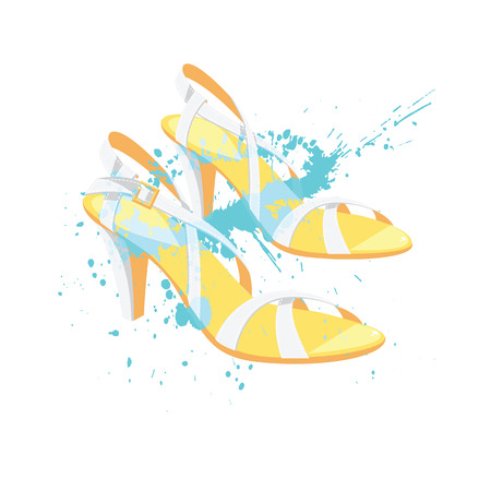 sandals isolated: Vector illustration of summer shoes with splash color isolated on white background. White sandals with high heel for summer Illustration