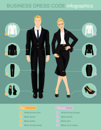 Business dress code infographics. Man and woman in official black suits isolated on color background. Vector illustration of people in formal clothes. Pair of black shoes. Illustration