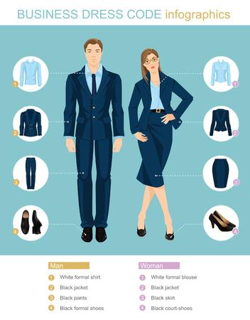 비즈니스 드레스 코드 infographics. 파란색 배경에 고립 파란색 정장에있는 사람들. 공식적인 옷 및 검은 신발에있는 사람들의 벡터 일러스트 레이 션. 일러스트