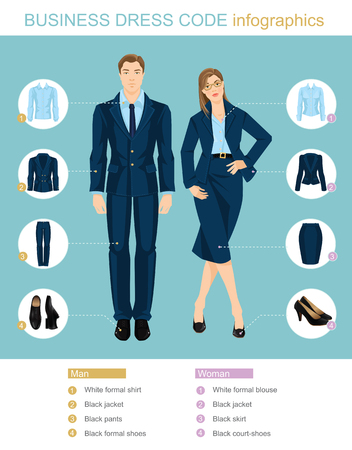 Business dress code infographics. People in blue suits isolated on color background. Vector illustration of people in formal clothes and black shoes. Ilustração