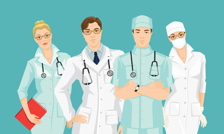 doctor gloves: Group of medical people isolated on color background. Serious man and woman in glasses. A young doctor in medical gown and hat isolated on white background.