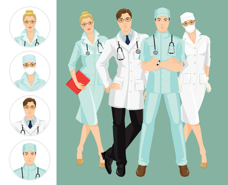 registered nurse: Group of medical people isolated on color background. A young doctor in medical gown and hat isolated on white background. Professional man and woman in glasses
