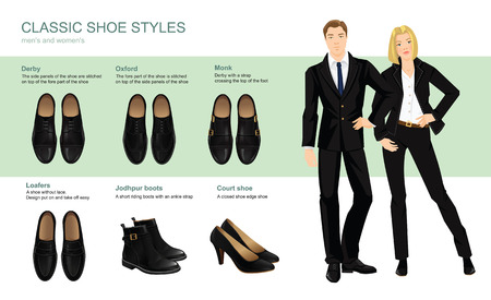 ankle strap: Vector illustration of classic shoes style. Business people in formal black clothes.