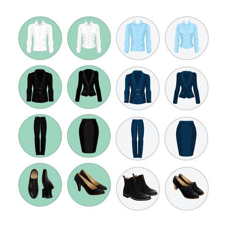 기업 드레스 코드의 벡터 일러스트 레이 션. 사무실 유니폼. 사업 사람들을위한 옷 아이콘입니다. 검은 색 정장 구두의 쌍입니다.