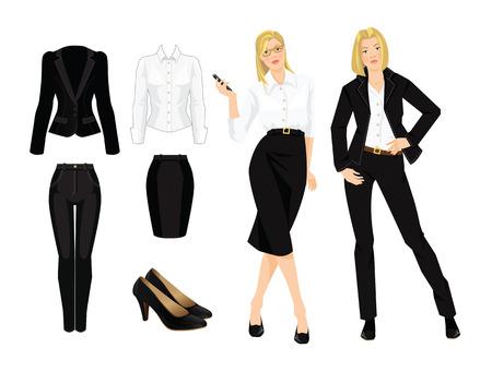 비즈니스 숙 녀 또는 공식적인 검은 양복 교수는 벡터 그림. 안경에 심각한 금발 소녀입니다. 회사 복장 규정. 여성용 검은 색 유니폼.