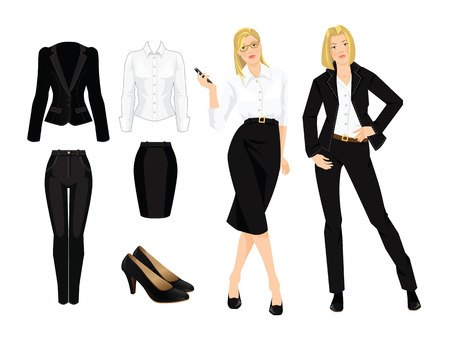 official wear: Vector illustration of business lady or professor in formal black suit. Serious blonde girl in glasses. Corporate dress code. Black uniform for women.