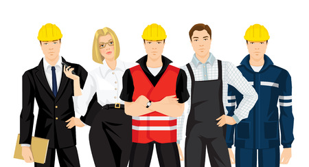 protective wear: Group of people in uniform. Set of building team isolated on white background. Builder manager or engineer, worker in protective wear and helmet, secretary with phone in her hand.