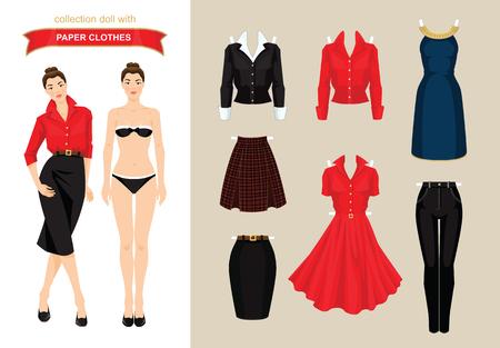 紙人形の服。体テンプレート。紙の服のセットです。事務所の休日の服の服。ゴールデン リボンでエレガントなネイビー ブルーでボブの髪型の女の