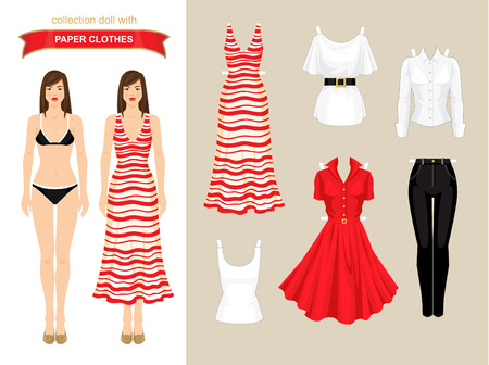 red cardigan: Paper doll with wardrobe. Body template. Set of paper clothes  holiday. Illustration
