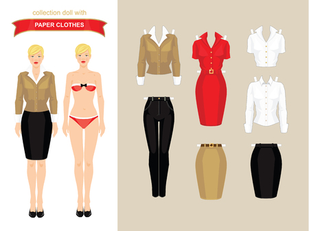 businesswoman skirt: Paper doll with clothes. Body template. Set of paper clothes. Clothes for office and for holiday.
