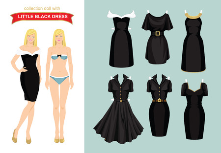 little black dress: Paper doll with collection of little black dress. Body template Illustration