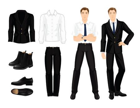 企業のドレスコードのベクター イラストです。事業者やフォーマルな服と黒い靴の教授