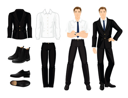 Vector illustration of corporate dress code. Business man or professor in formal clothes and black shoes Illustration