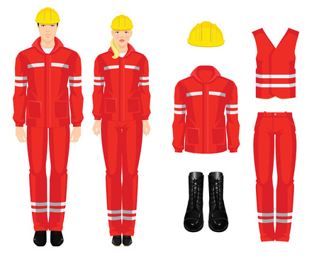 safety shoes: People worker in professional wear, shoes and yellow safety helmet on white background