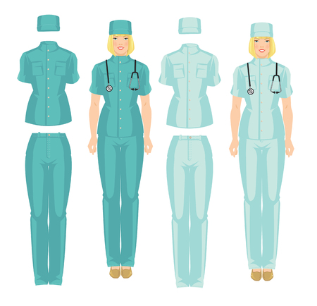 Vector illustration of professional medical uniform isolated on white background. Blond woman doctor in medical shirt, pants and hat Illustration
