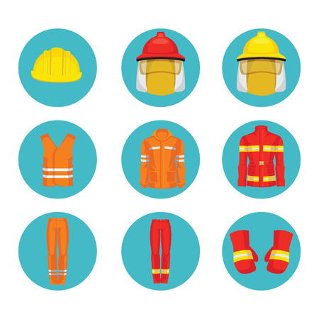 protective wear: Vector illustration of protective wear and yellow safety helmet icon. Illustration