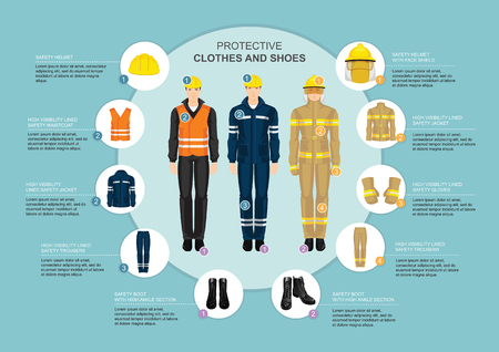 Infographics with professional uniform for hard-working people. Safety clothes and helmet. Vectores
