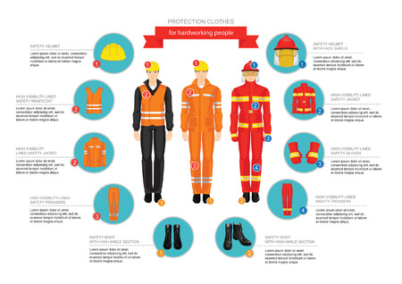 coverall: Infographics of professional uniform for hard-working people. Safety clothes and helmet. Illustration