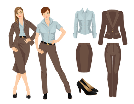 Vector illustration of business girl or professor in formal clothes. Brown suit and black shoes
