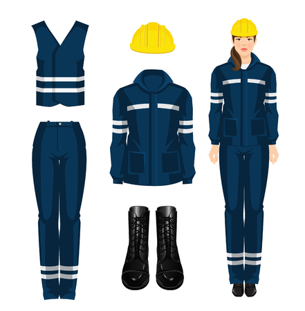 protective wear: Woman worker in protective wear, black shoes and yellow safety helmet on white background Illustration