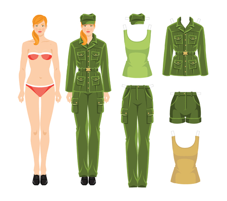financier: Doll with paper clothes in military style. Body template. Vector illustration of soldier girl isolated on white background