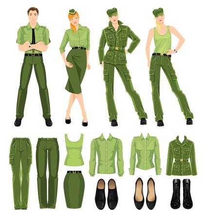 Grupo de personas soldado en diversa actitud. uniforme militar y zapatos negros aislados en el fondo blanco