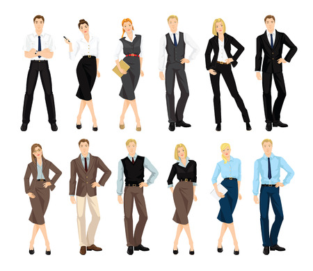 businesswoman skirt: Group of people in formal clothes isolated on white background.