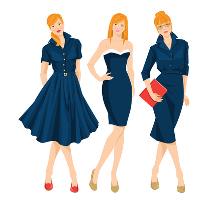 formal: Vector illustration of secretary or professor in formal blue dress and redhead girl on holiday. Woman holding document