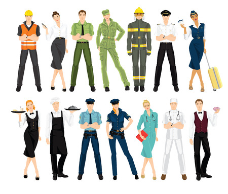 Set of professional people in uniform isolated on white background.