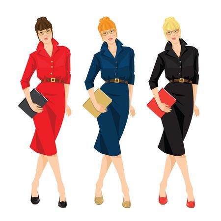 formal dress: Business women or teacher in red, blue and black formal dress holding document Illustration