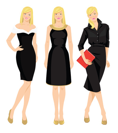black dress: Vector illustration of blondy woman in black dress