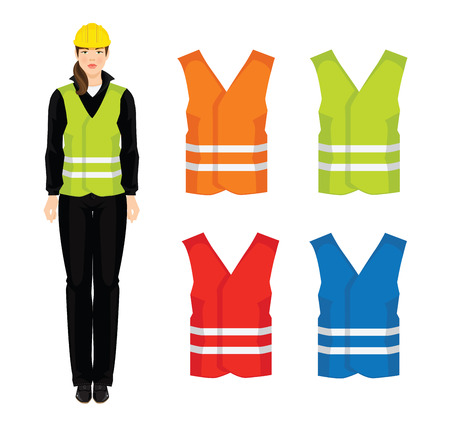 waistcoat: Vector illustration of different color safety waistcoat isolated on white background.