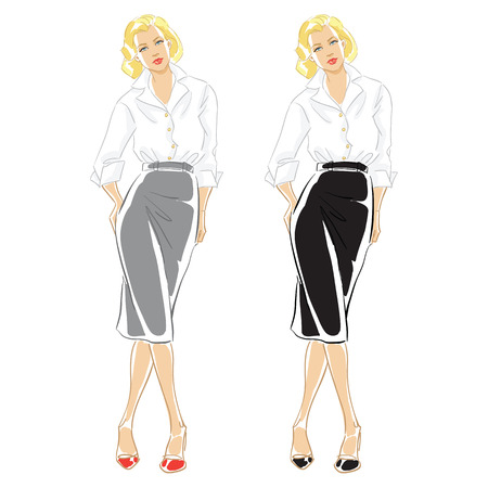 white blouse: Vector hand draw illustration of blonde woman in formal white blouse.