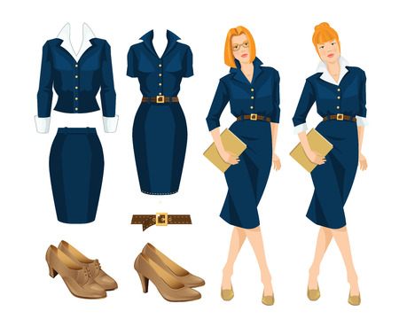 businesswoman skirt: illustration of redhead woman in blue dress. Formal clothes and shoes on white background.