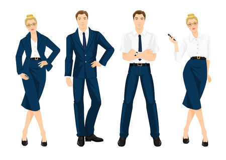 formal shirt: illustration of business people in formal blue suits and white shirt. Young woman holding mobile phone in her hand Illustration