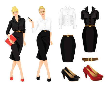 office uniform: illustration of office uniform and formal shoes. Business woman or professor in black dress. Secretary telephone phone in her hand