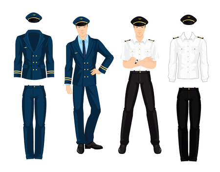 navy blue suit: illustration of aviation uniform isolated on white background. Pilot in navy blue suit with gold ribbon. Illustration