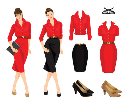 white blouse: illustration of women in black skirt, red formal dress and blouse isolated on white background.
