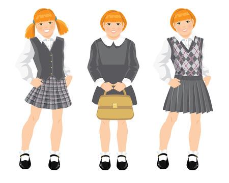 Little redhead girl in school uniform