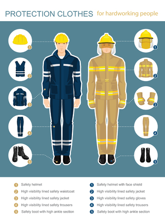 coverall: Info-graphics with professional uniform for hard-working people. Safety clothes and helmet.