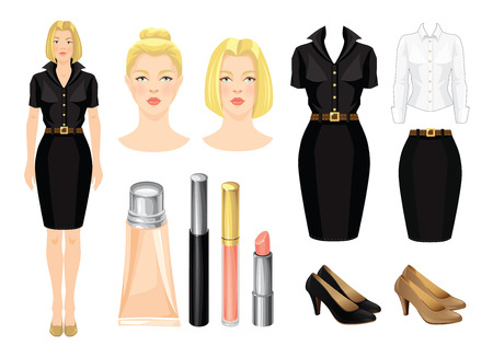 woman business suit: Vector illustration of corporate dress code. Secretary or professor in black formal dress and beige shoes.