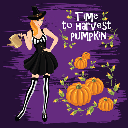 watering pot: Vector illustration of redhead girl in witch costume holding watering pot in her hand. Pumpkin isolated on color background Illustration