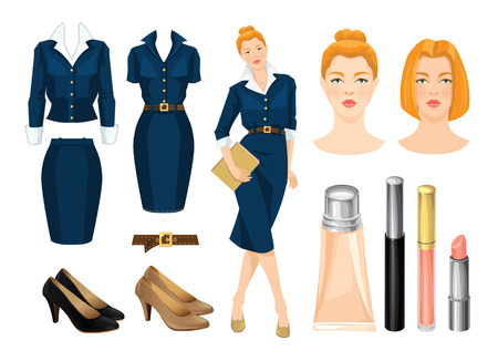 formal dress: Vector illustration of corporate dress code. Redhead secretary or business woman in blue formal dress and beige shoes.