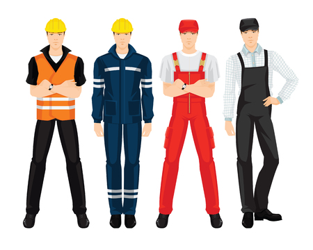 Vector illustration of worker man in uniform isolated on white background
