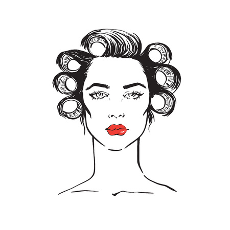 curler: Hand-drawn illustration of woman with curler on white background vector