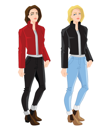 Vector illustration of blonde and brunette girls in bomber jacket, jeans and ankle boot with side elastic gussets on white background
