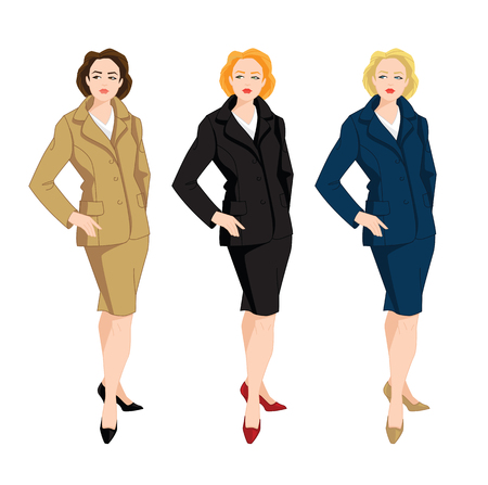 Vector Illustration of corporate dress code. Business women in blue, beige and black formal skirt and jacket. Illustration