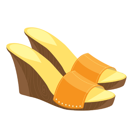 Vector illustration of a brown open-back shoes with a metallic decoration isolated on a white background.