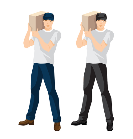 Vector illustration of man loader or courier hold package
