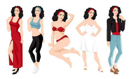 Vector illustration of woman in different clothes and pose isolated on white background.